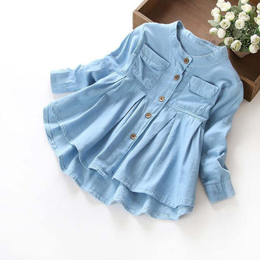 Girls Denim Ruched Long Sleeve O-neck Blouse