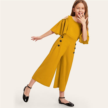Kiddie Solid Cold Shoulder Button Side Casual Girls Jumpsuit
