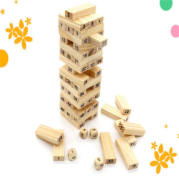 Tower Building Blocks Toy Rainbow Domino Stacker Board Game Folds High Montessori