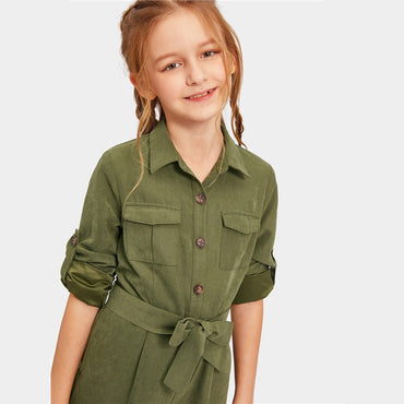 Kiddie Army Green Button And Pocket Front Belted Casual Girls Jumpsuit