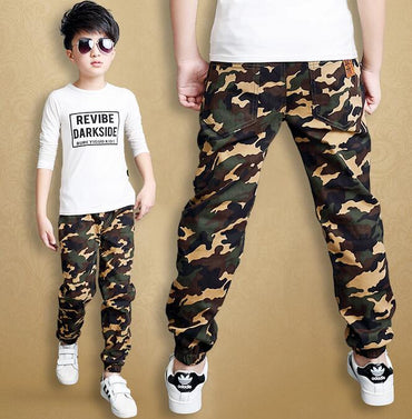 Camouflage Boys Pants Casual Cotton Print Mid Elastic Waist Harem Pants
