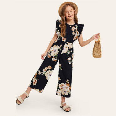Kiddie Floral Print Wide Leg Holiday Girls Jumpsuit