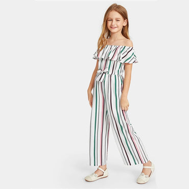 Kiddie Off The Shoulder Flounce Layered Boho Girls Jumpsuit