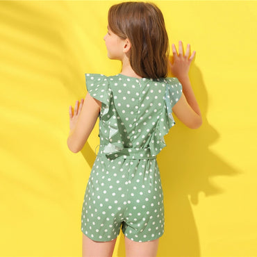 Kiddie Green Polka Dot Ruffle Armhole Holiday Belted Girls Romper