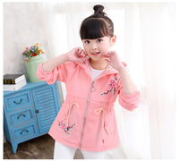 New Spring Autumn Girls Windbreaker Coat Baby Kids Flower Embroidery