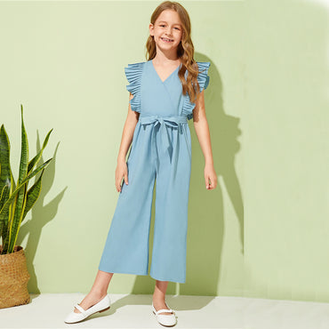 Kiddie Blue V Neck Pleated Armhole Vacation Belted Girls Jumpsuits