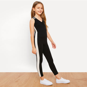 Black Girls Letter Strap Tape Side Casual Skinny Jumpsuit