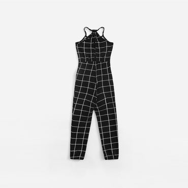 Girls Black And White Plaid Drawstring Waist Grid Jumpsuit