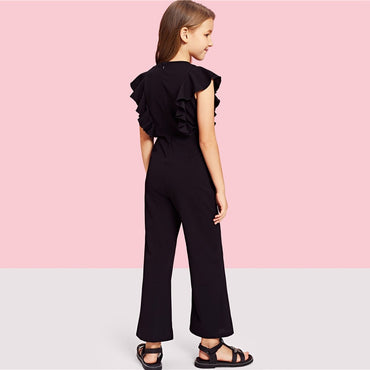 Kiddie Black Ruffle Trim Zip Back Knot Button Wide Leg Casual Girls Jumpsuit