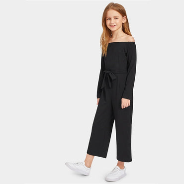 Black Kiddie Off the Shoulder Self Belted Rib Knit Girls Jumpsuit