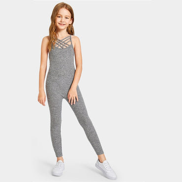 Kiddie Grey Solid Caged Neck Marled Knitted Skinny Casual Jumpsuit