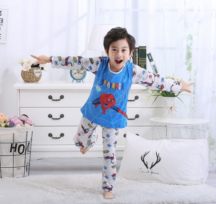 Cute Cartoon Kids Pijamas Set Thin Girls Sleepwear for Boys and Girls