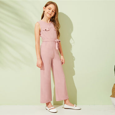 Kiddie Pink Zipper Front Casual Girls Jumpsuit With Belt