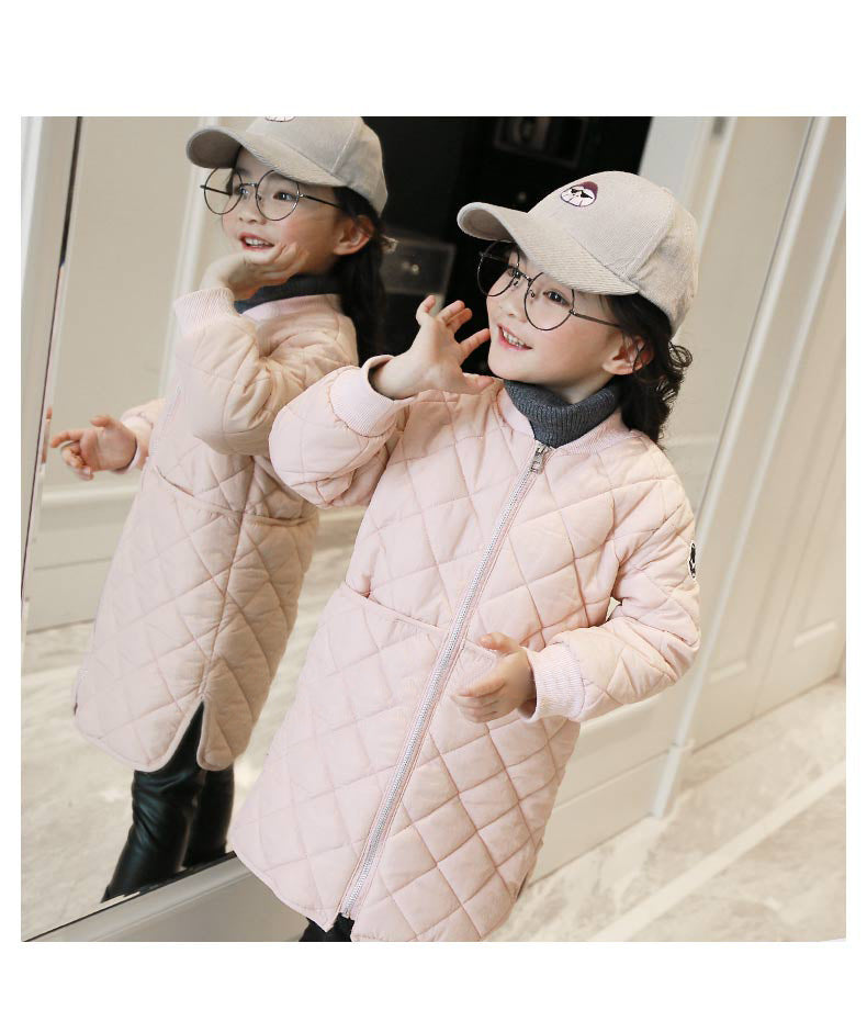 Brand Baby Girls Winter Thin Kids Coat Long Style