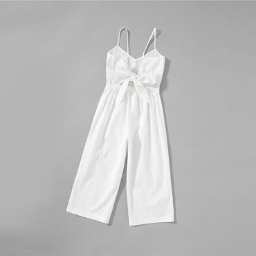 White Solid Girls Button Up Front Cami Jumpsuit