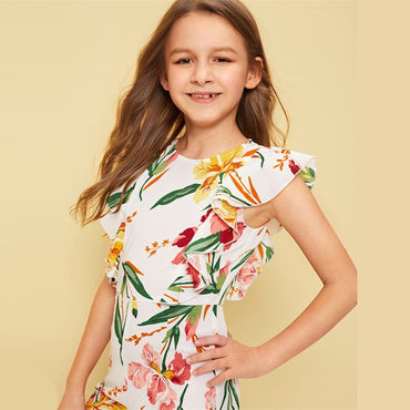 Kiddie Floral Print Ruffle Trim Zipper Vacation Jumpsuit