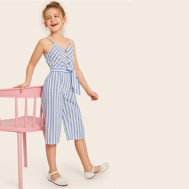 Kiddie Girls Blue Striped Button Front Boho Belted Tank Romper