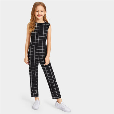 Kiddie Girl Black Plaid Zipper Back Casual Tank Jumpsuit