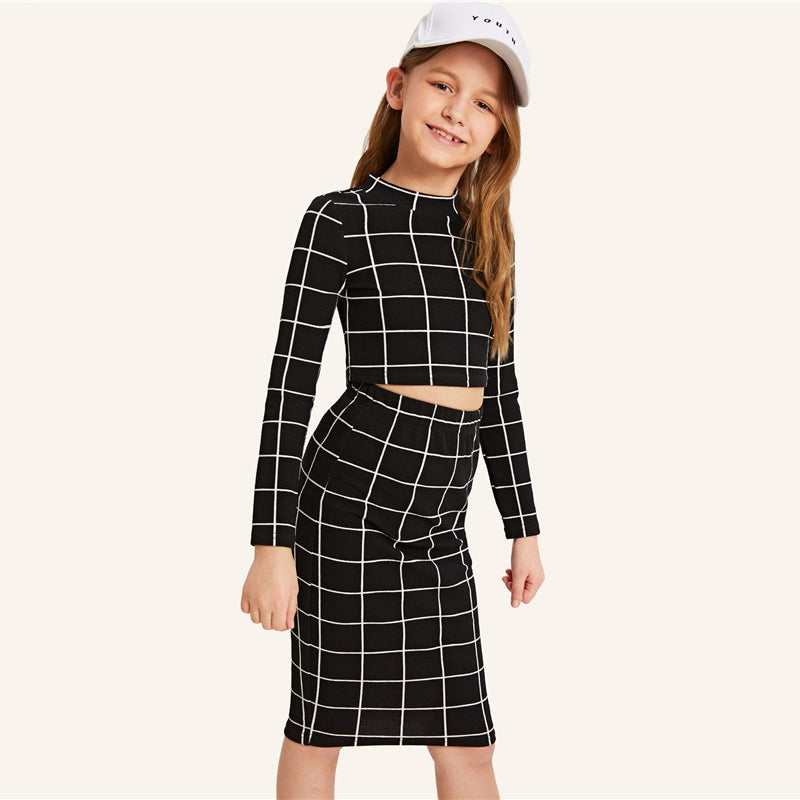 Kiddie Girls Stand Collar Black Plaid Crop Top With Skirt Casual Suit Set