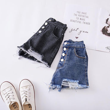New Arrival Girls Ripped Denim Shorts