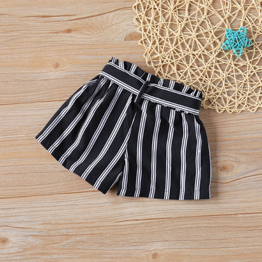 New Girls Short Pants Black And White Stripes+ Belt Fashion Girl Shorts
