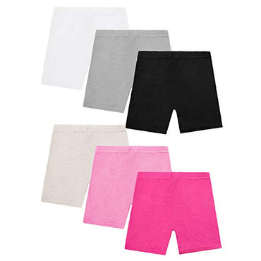 6 Pack Dance Shorts For Girls  Breathable Solid Safety Girl Short
