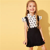 Toddler Girls Polka Dot Cap Sleeve Blouse With Ruffle Hem Skirt Preppy Outfits