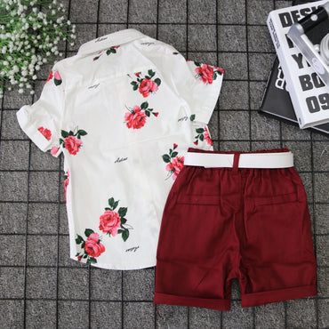 Baby Boy Clothes Short Sleeve Floral Tops  Gentleman Formal Suit Outfits