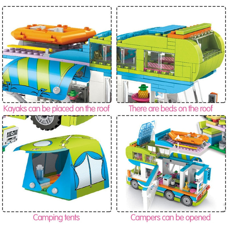 City Outing Camper Bus Car Girls Figures Building Blocks