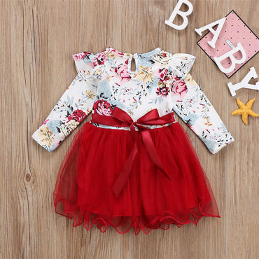 Cute Baby Girl Floral Ruffle Long Sleeve Tulle Tutu Dress