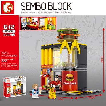 Hamburger Fast food restaurant Streetscape Building Blocks Bricks Compatible