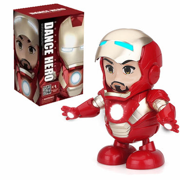 Dance Spider Man Avengers Bumblebee Iron Man Action Figure Toy LED Flashlight With Light Sound Music Robot Hero Electronic Toy