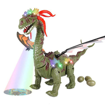 Electric Walking  Dinosaur Toy Long Neck Lay Eggs Projection Lights Roar Sounds