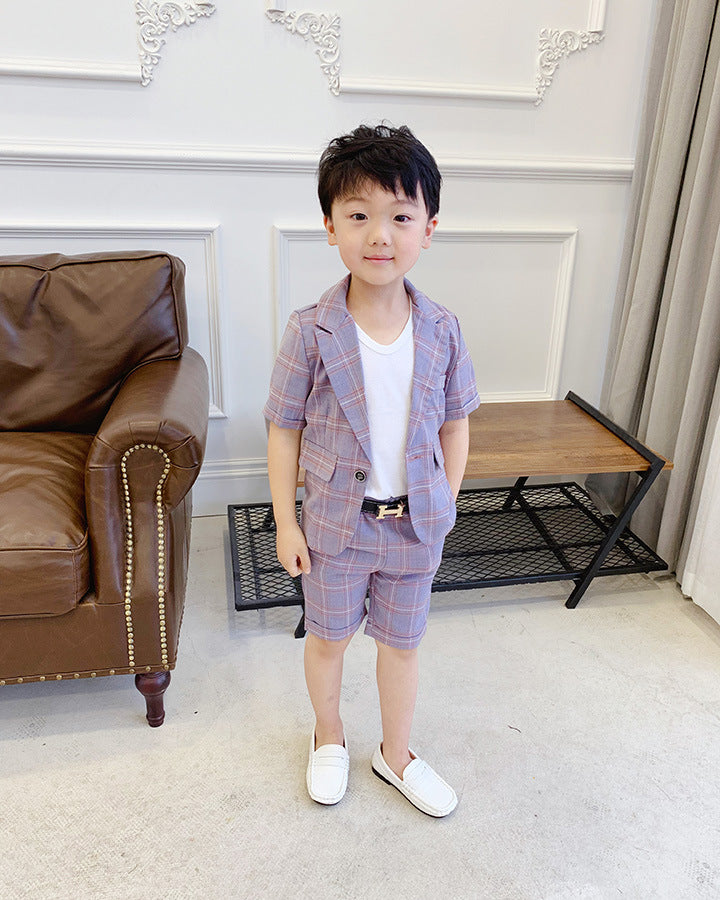 Plaid Suit for Boy Single Breasted Baby Boys Suits