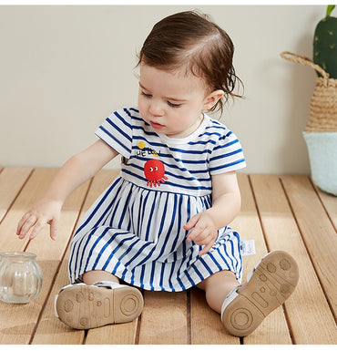 Baby girls striped cotton short sleeve princess dress