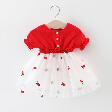 Baby Girl Short Sleeve Pineapple Embroidery Tulle Dress