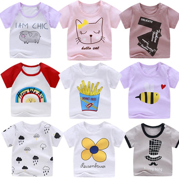 Cotton Cartoon Flower Rainbow Printing Tops T-shirt