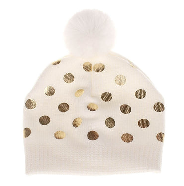 Winter Warm Baby Hat Dot With Hairball Baby Caps