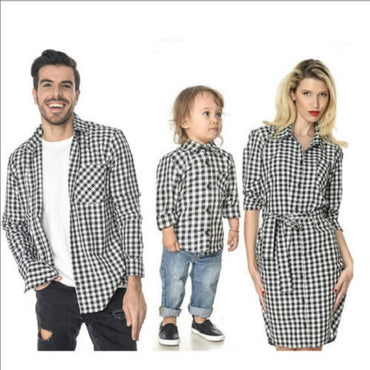 Family Matching Outfits  Dad Son Plaid Shirts Mum Daughter Long Sleeve Dress Shirt