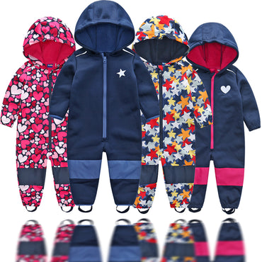 boys soft shell jumpsuit girls overalls with fleece lining