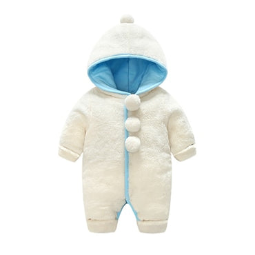 Newborn Overalls Velvet Thick Cotton Warm Pom Pom Hooded Rompers