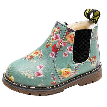 Baby Girls Waterproof Non-slip Ankle Boots Leather Snow Boots