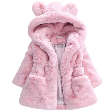 Fur Coat Winter Jackets Girls Hooded Baby Jacket