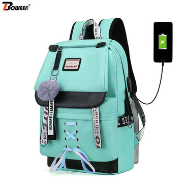 Capacity Usb School Bags Teenagers Backpack Women Bookbags
