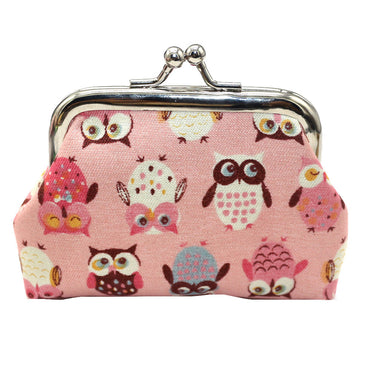 Kawaii Owl print Small Change Wallet Purse