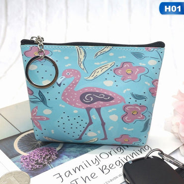 Flamingo Strawberry Pattern Coin Purse Zip Bag