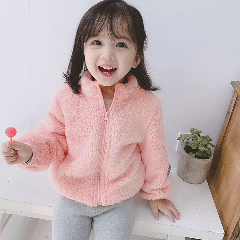 Winter New Girls Plush Warm Coat Outerwear Kid