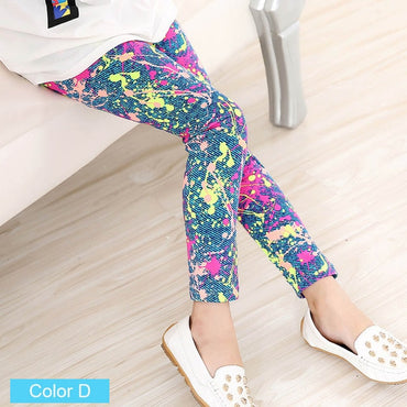 Flower Print Classic Design Girl Skinny Leggings
