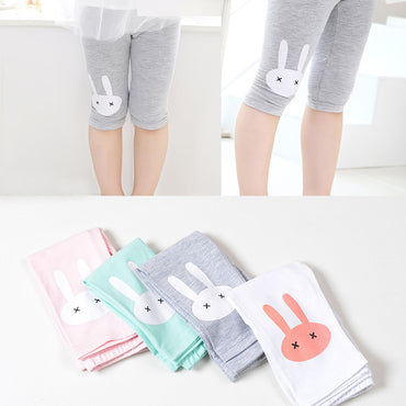 3-10years Rabbit Footless Girls Knee Length Cotton Pants