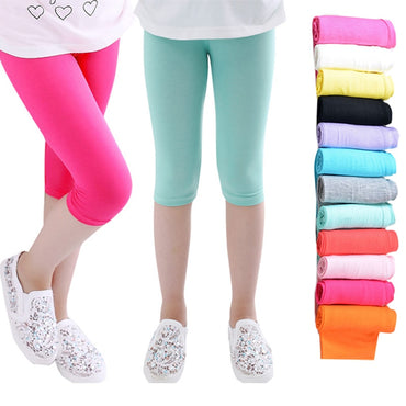 3-10years Girls Knee Length Candy Color Kid Five Pants